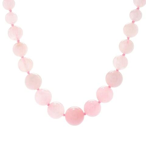 Michael Valitutti Palladium Silver, Rose Quartz Graduated Bead Toggle Necklace - Pink