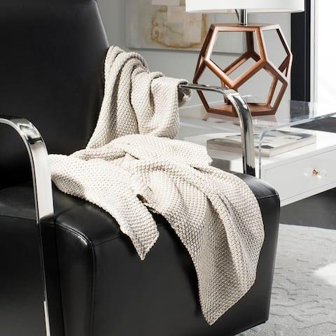 Safavieh Tickled Grey/ Silver Knit 50 x 60-inch Throw Blanket