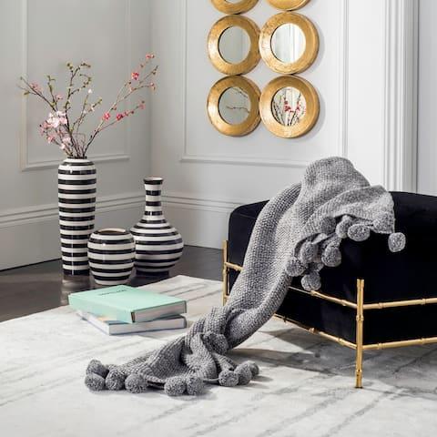 Safavieh Pom Pom Grey Knit Throw Blanket
