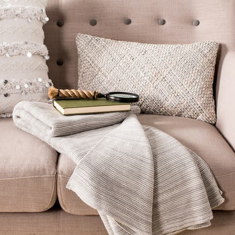 Safavieh Loveable Grey Knit Throw Blanket