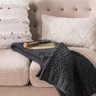 """Safavieh Affinity Grey Knit 50 x 60-inch Throw Blanket - 50"""" x 60"""""""