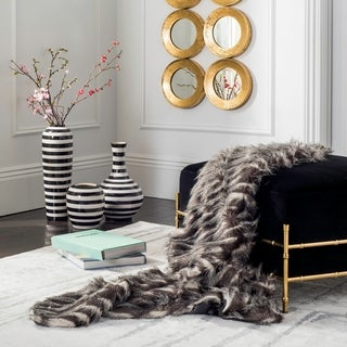Safavieh Faux Pheasant Black/ Grey 50 x 60-inch Throw Blanket