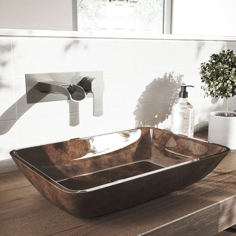 VIGO Cornelius Brushed Nickel Wall Mount Bathroom Faucet
