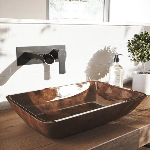 VIGO Cornelius Matte Black Wall Mount Bathroom Faucet
