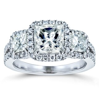 Annello by Kobelli 14k Gold 2 4/5ct TGW Princess Moissanite and Diamond Halo 3-Stone Engagement Ring (HI/VS, GH/I)