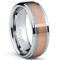 Oliveti RoseTone Plated Tungsten Carbide Brushed Ring Wedding Band Comfort Fit 8mm