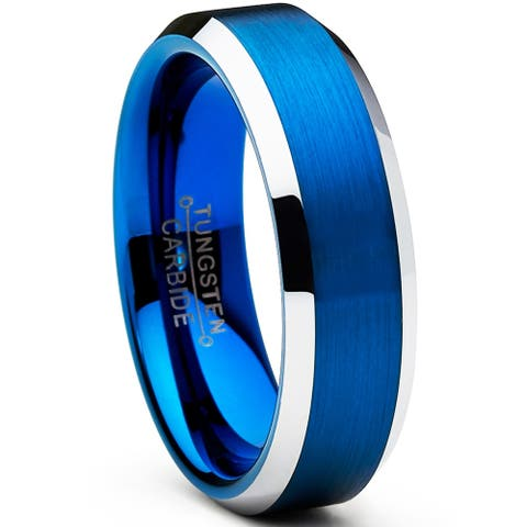 Oliveti Men's Tungsten Carbide Brushed Wedding Band Blue Plated Ring 6mm