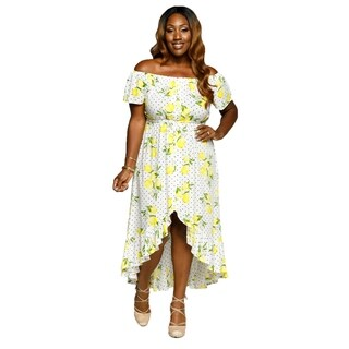 Xehar Womens Plus Size High Low Lemon Beach Party Maxi Summer Dress (3 options available)