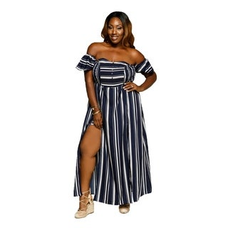 Xehar Womens Plus Size Sexy Stripe Side Slit Jumpsuit Romper Dress