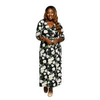 Xehar Womens Plus Size Floral Wrap Long Party Summer Maxi Dress