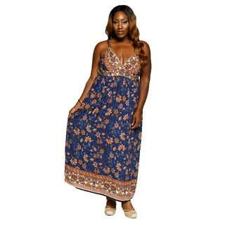 Xehar Womens Plus Size Sexy Sleeveless Floral Summer Maxi Dress (3 options available)