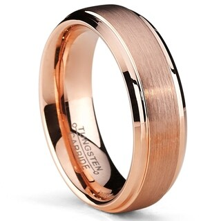 Oliveti RoseTone Brushed Tungsten Carbide Wedding Band Ring, Comfort Fit 6mm