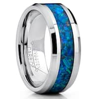 Oliveti Tungsten Carbide Wedding Band Ring With Blue Green Simulated Opal Inlay 8mm