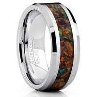 Oliveti Tungsten Carbide Wedding Band Ring With Fire Red Simulated Opal Inlay 8mm