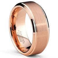 Oliveti RoseTone Brushed Tungsten Carbide Wedding Band Ring, Comfort Fit 8mm