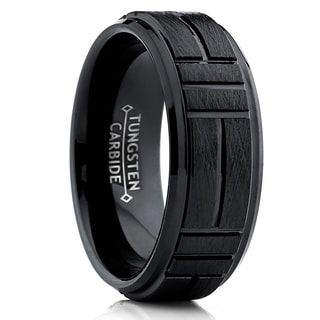 Oliveti Men's Black Tungsten Carbide Textured Brushed Wedding Band Ring, Comfort Fit 8mm
