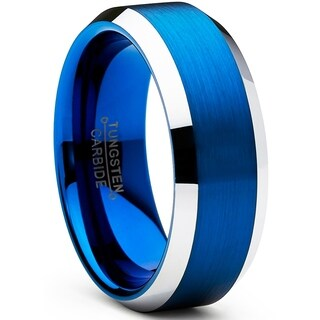 Oliveti Men's Tungsten Carbide Brushed Wedding Band Blue Plated Ring 8mm