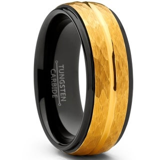 Oliveti Men's Two Tone Black and Goldtone Hammered Brushed Tungsten Wedding Ring, 8mm Comfort Fit Band 7.5