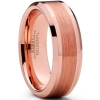 Oliveti Men's Tungsten Carbide Wedding Band Ring, Brushed Rose Tone Comfort Fit 8mm