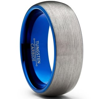 Oliveti Men S Tungsten Carbide Wedding Ring Dome Brushed Blue Comfort Fit Band 8mm