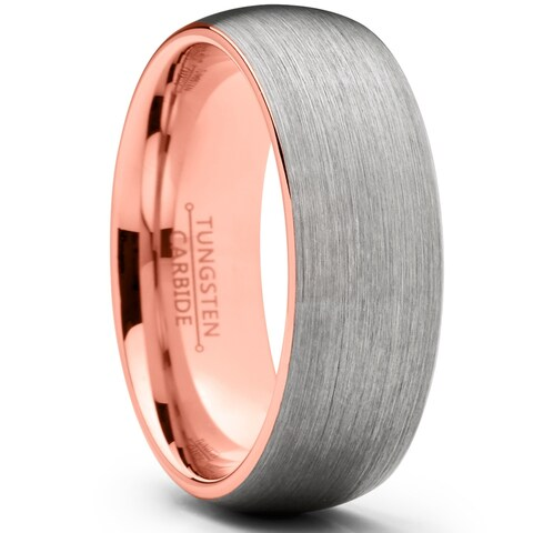 Oliveti Men's Dome Brushed Rose Tone Tungsten Carbide Wedding Ring Comfort Fit Band 8mm
