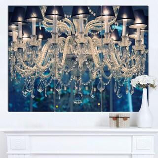 Designart 'Blue Vintage Crystal Chandelier' Flower Artwork on Canvas - Blue (As Is Item)