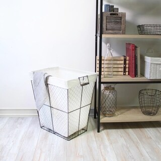 Chickie Single Rectangular Metal Chicken Wire Hamper with Liner and Foldable Wood Handles Set of 4