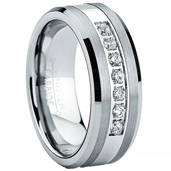 2231408e6c Shop Oliveti Men's Tungsten Carbide and Stainless Steel Wedding Band Ring  with Cubic Zirconia - On Sale - Free Shipping On Orders Over $45 -  Overstock - ...