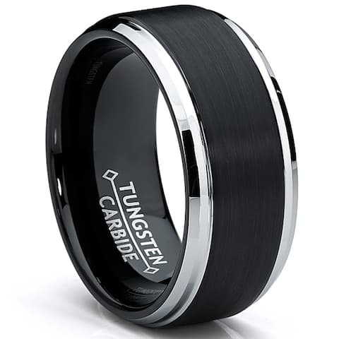 Oliveti Men's Black Two Tone Tungsten Carbide Brushed Wedding Band Ring 9mm