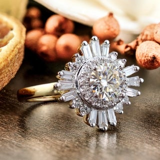 Vintage 3/4ct Moissanite and 1ctw Baguette Diamond Ballerina Halo Engagement Ring by Auriya