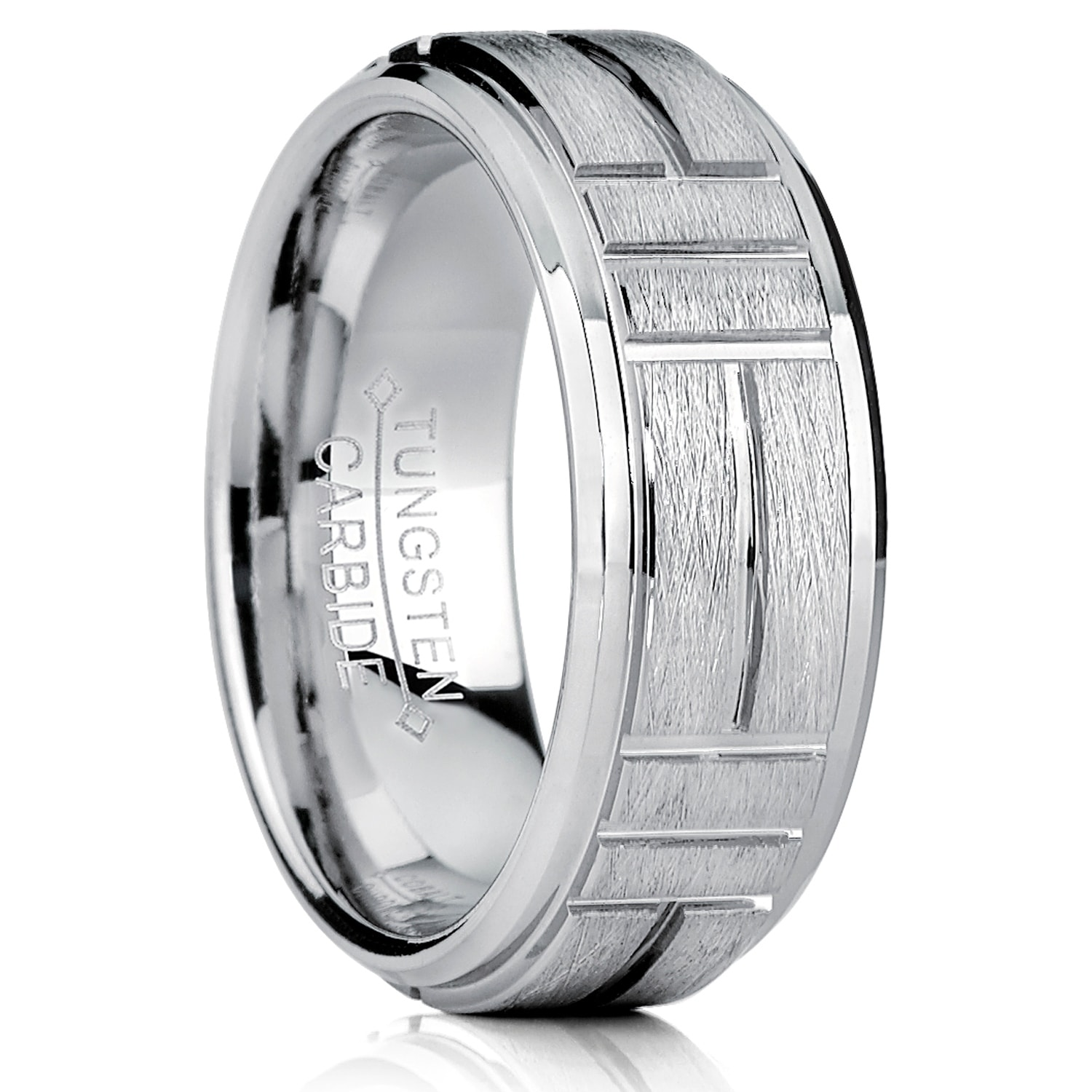 Tungsten Carbide Mens Comfort Fit Wedding Band Ring Silver Brushed Center 8mm