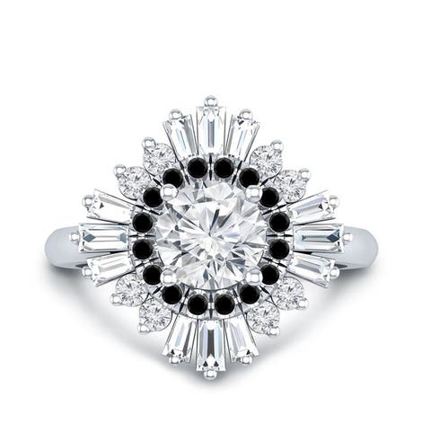 Auriya 14k Gold 3/4ctw Moissanite Ballerina Halo Black Diamond Engagement Ring 9/10ct TDW