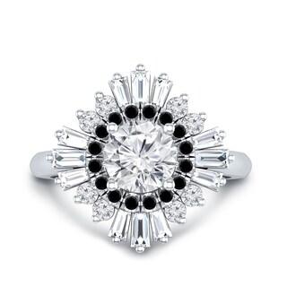 Auriya 14k Gold Deco Vintage 1cttw Black Diamond and 3/4ct Moissanite Baguette Ballerina Halo Engagement Ring
