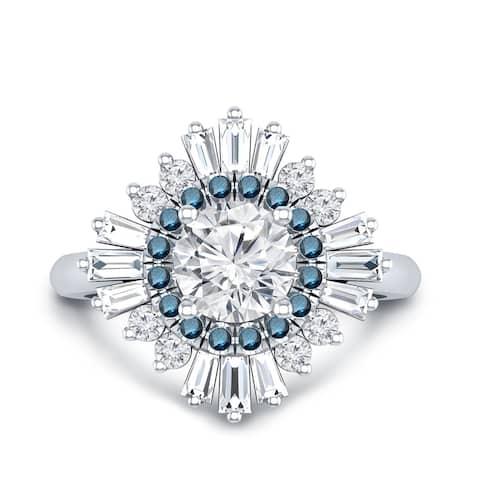 Auriya 14k Gold 3/4ctw Moissanite Ballerina Halo Blue Diamond Engagement Ring 1ct TDW