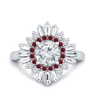 Auriya 14k Gold Art-Deco 3/4ct Moissanite and Ruby and Diamond Sunburst Halo Engagement Ring (More options available)