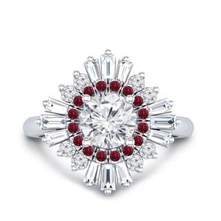 Auriya 14k Gold Vintage Ballerina 3/4ct Moissanite and Red Ruby & Halo Diamond Engagement Ring