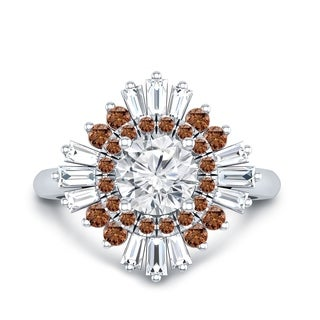 Auriya 14k Gold Vintage Ballerina 3/4ct Moissanite and Brown & White Halo Diamond Engagement Ring