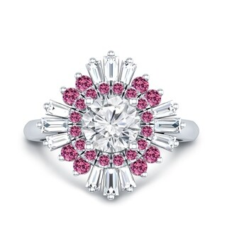 Auriya 14k Gold Vintage Deco Ballerina 3/4ct Moissanite and Pink Sapphire & Halo Diamond Engagement Ring