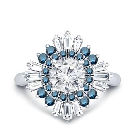 Auriya 14k Gold 3/4ctw Moissanite Ballerina Halo Blue Diamond Engagement Ring 9/10ct TDW