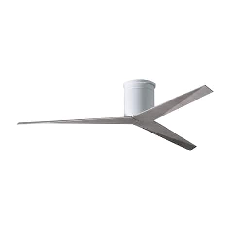 Eliza-H 3-blade Gloss White Flush Mount Paddle Ceiling Fan with Barn Wood Blades