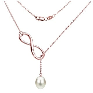 DaVonna Rose Gold Over Silver 8 9mm Freshwater Pearl Infinity Pendant Necklace 18