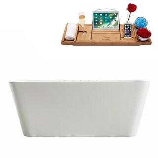 "59"" Streamline M-2061-59FSWH-DM Soaking Freestanding Tub With Internal Drain"
