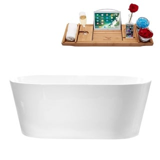 "58"" Streamline M-2180-58FSWH-FM Soaking Freestanding Tub With Internal Drain"