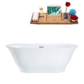 "67"" Streamline M-2440-67FSWH-FM Soaking Freestanding Tub and tray With Internal Drain"