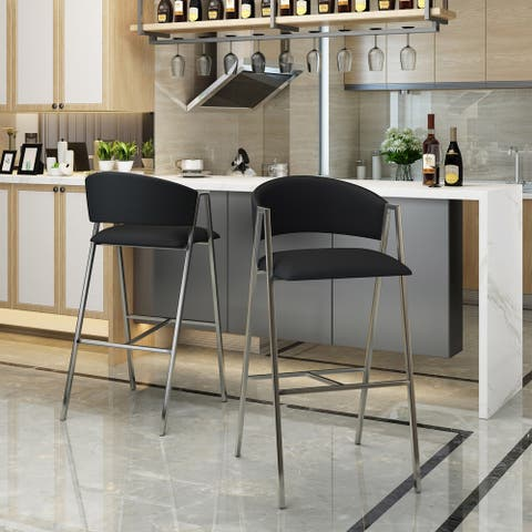 Marlon Modern 28-inch Backed Faux Leather Barstool (Set of 2) by Christopher Knight Home