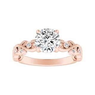 Auriya 14k Gold Vintage Inspired 3/4ct Round Moissanite and 1/10ct TDW Diamond Engagement Ring