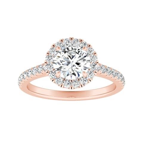 Auriya 14k Gold 1 1/2ct Moissanite Halo Diamond Engagement Ring 3/8ctw