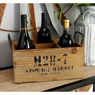 Carbon Loft Walter Natural Stamped Wooden Wine Crate