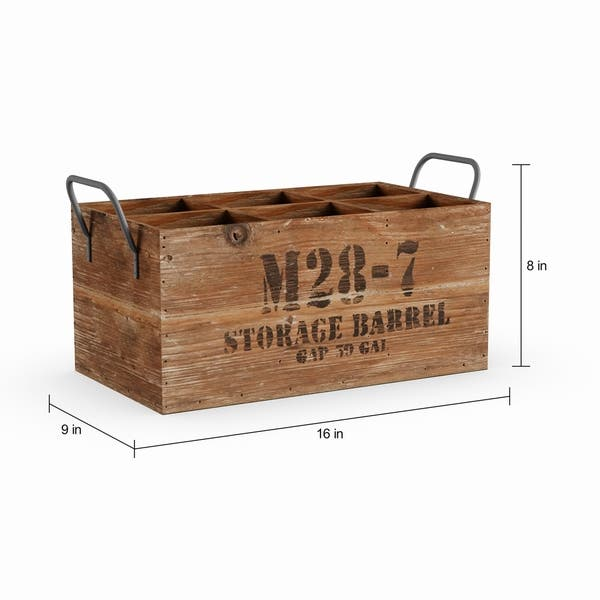 Shop Carbon Loft Walter Natural Stamped Wooden Wine Crate