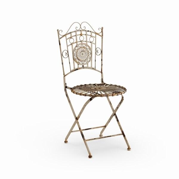 Handmade Distressed White Wrought Iron Garden Chair China